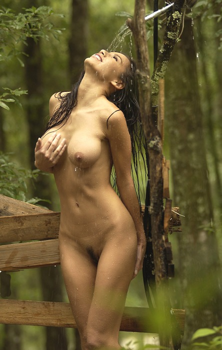 hot naked girls showering outside